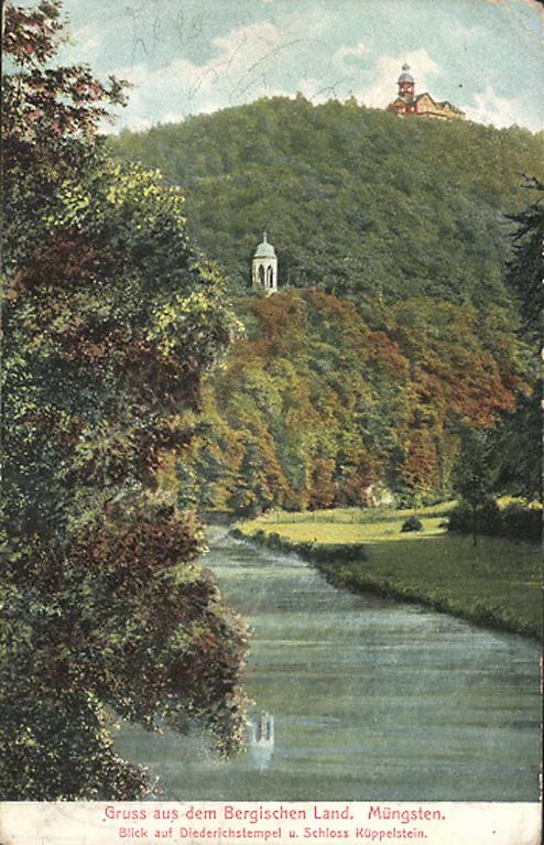Muengsten. Blick auf Diederichstempel und Schloss Küppelstein